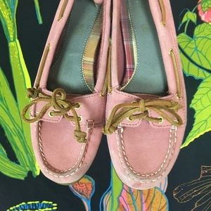 SPERRY PINK LEATHER BOAT SHOES